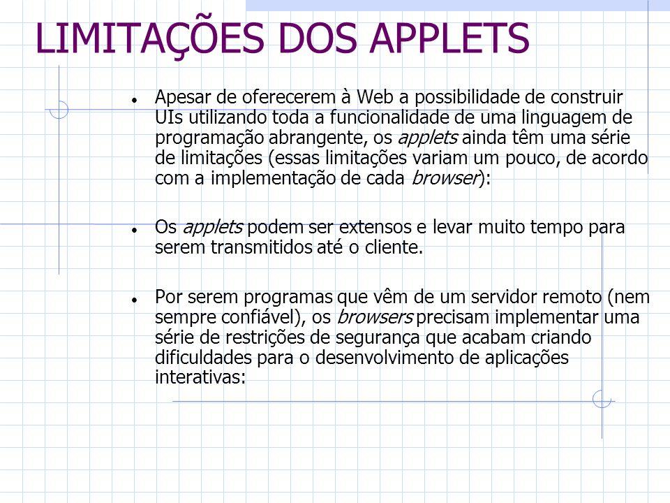 LIMITAÇÕES DOS APPLETS Apesar de oferecerem à Web a possibilidade de construir UIs utilizando toda a funcionalidade de uma linguagem de programação ab