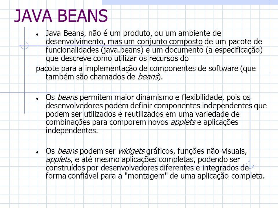 JAVA BEANS Java Beans, não é um produto, ou um ambiente de desenvolvimento, mas um conjunto composto de um pacote de funcionalidades (java.beans) e um