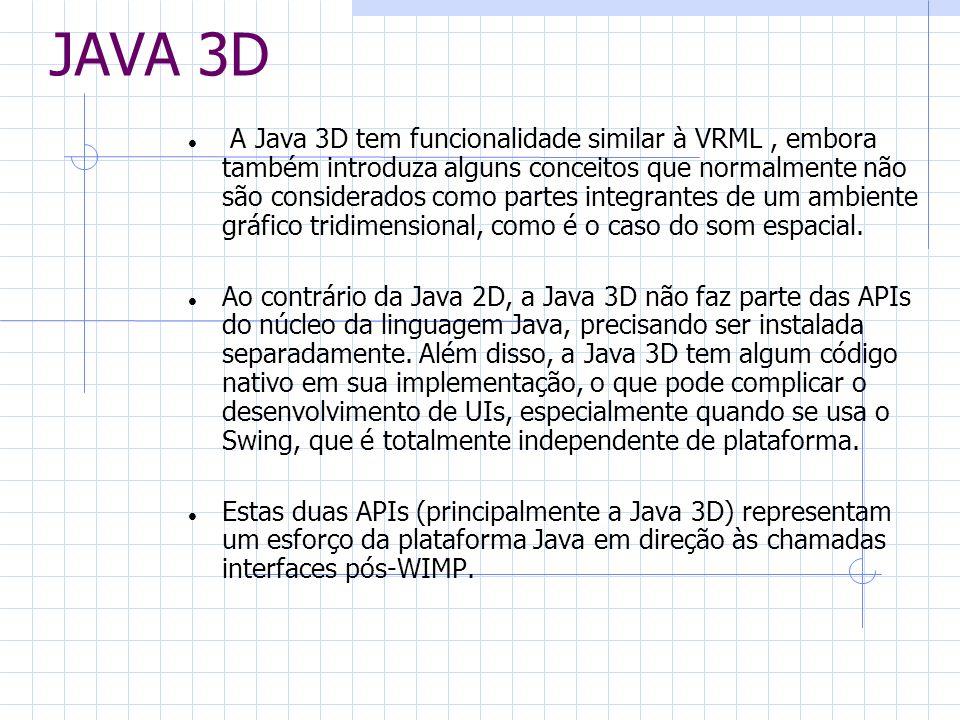 JAVA 3D A Java 3D tem funcionalidade similar à VRML, embora também introduza alguns conceitos que normalmente não são considerados como partes integra