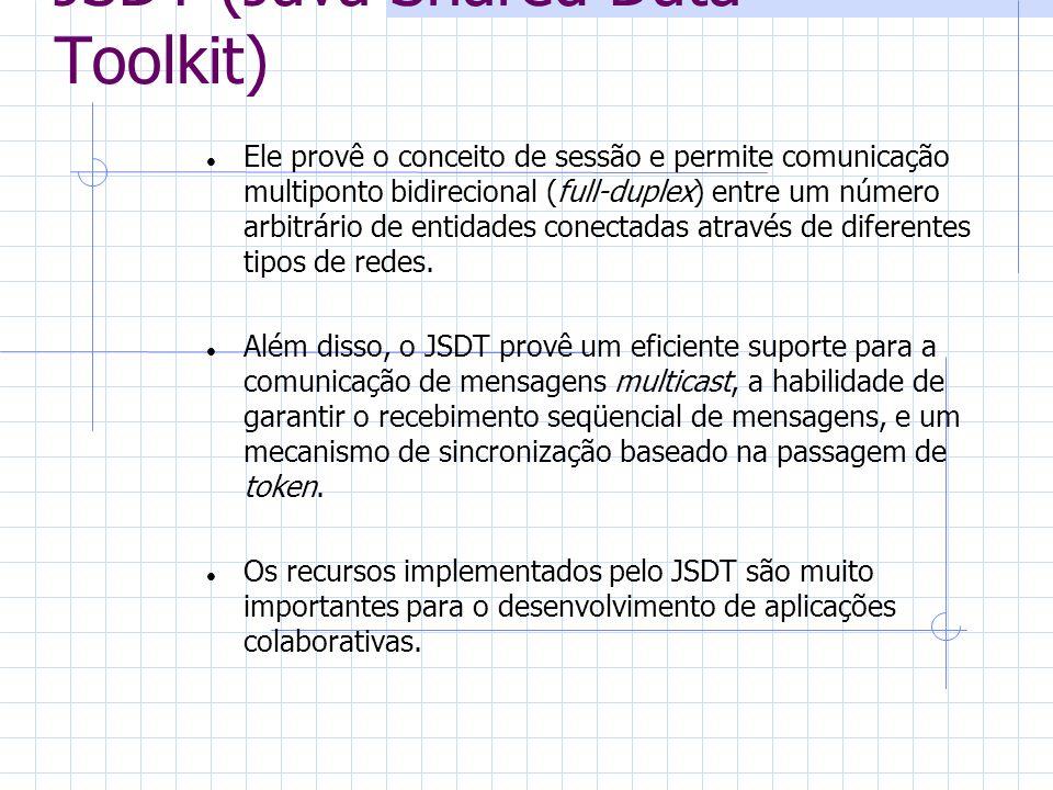 JSDT (Java Shared Data Toolkit) Ele provê o conceito de sessão e permite comunicação multiponto bidirecional (full-duplex) entre um número arbitrário