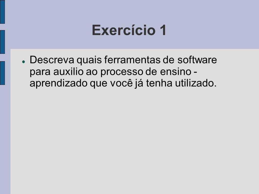Exercício 1 Descreva quais ferramentas de software para auxilio ao processo de ensino - aprendizado que você já tenha utilizado.