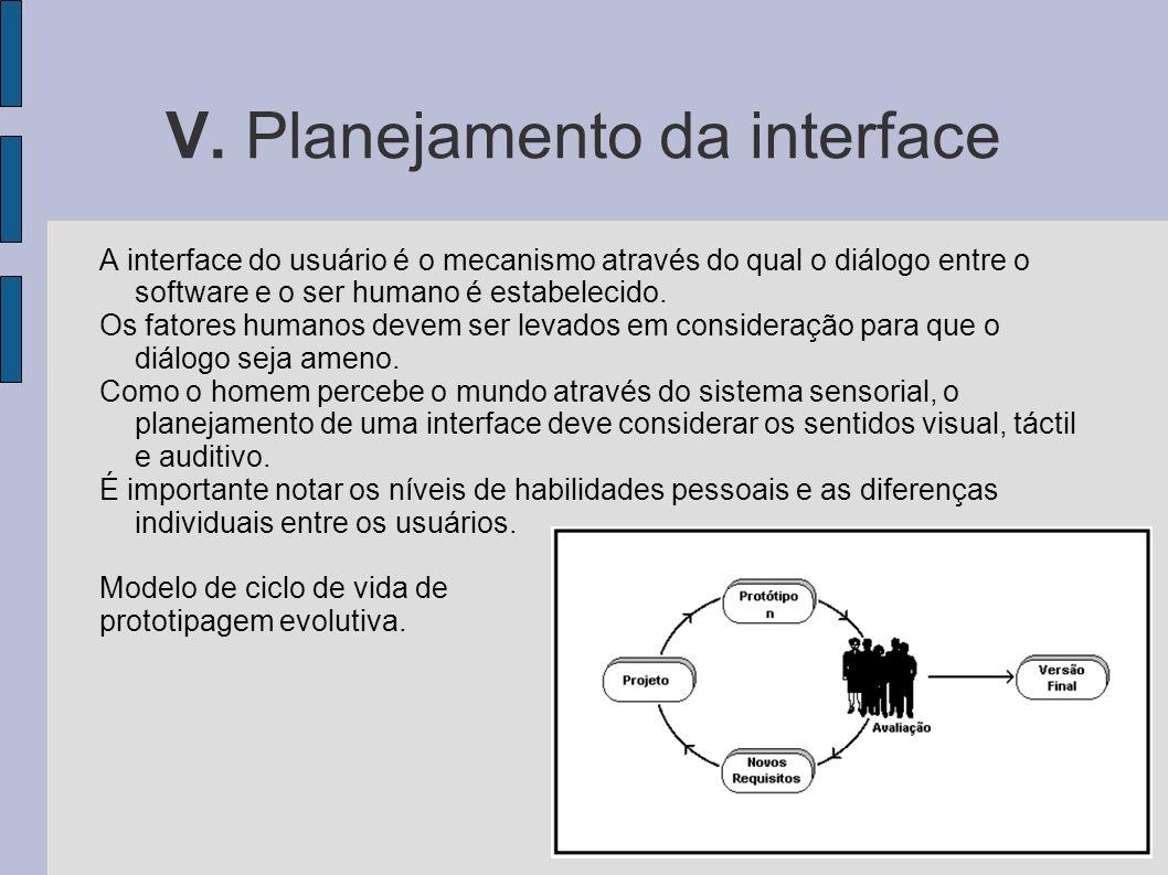 V. Planejamento da interface A interface do usuário é o mecanismo através do qual o diálogo entre o software e o ser humano é estabelecido. Os fatores