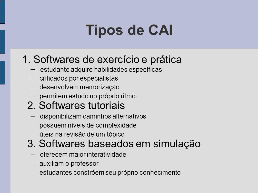 Tipos de CAI 1. Softwares de exercício e prática – estudante adquire habilidades específicas – criticados por especialistas – desenvolvem memorização