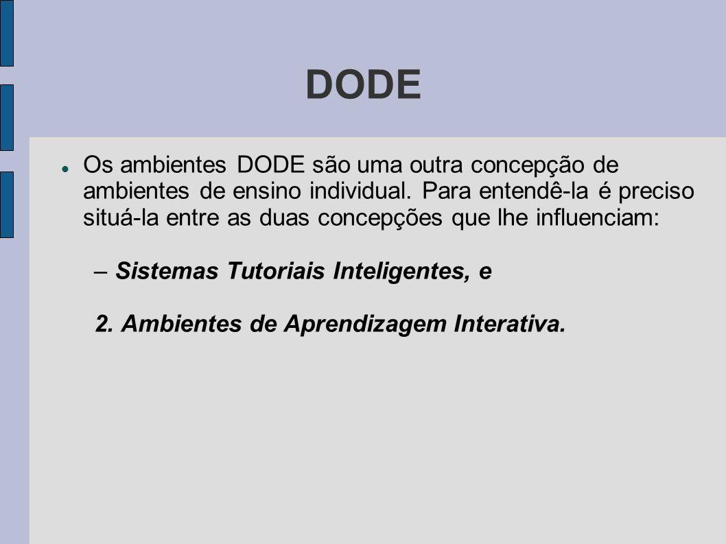 DODE Os ambientes DODE são uma outra concepção de ambientes de ensino individual. Para entendê-la é preciso situá-la entre as duas concepções que lhe
