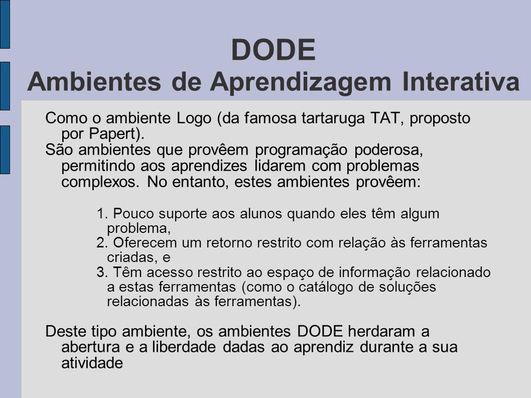 DODE Ambientes de Aprendizagem Interativa Como o ambiente Logo (da famosa tartaruga TAT, proposto por Papert). São ambientes que provêem programação p
