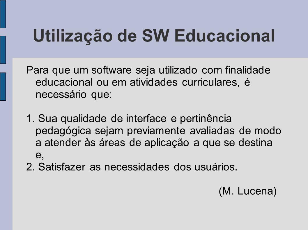 Utilização de SW Educacional Para que um software seja utilizado com finalidade educacional ou em atividades curriculares, é necessário que: 1. Sua qu