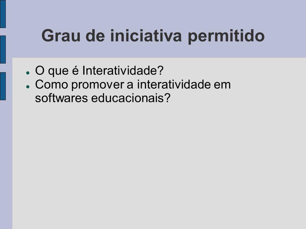 Grau de iniciativa permitido O que é Interatividade? Como promover a interatividade em softwares educacionais?