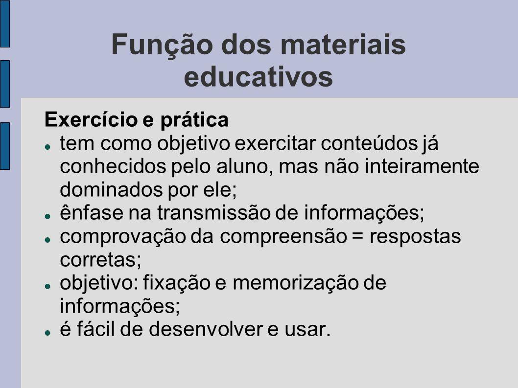 Função dos materiais educativos Exercício e prática tem como objetivo exercitar conteúdos já conhecidos pelo aluno, mas não inteiramente dominados por