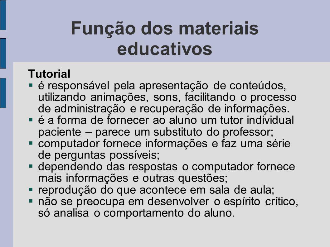 Função dos materiais educativos Tutorial é responsável pela apresentação de conteúdos, utilizando animações, sons, facilitando o processo de administr