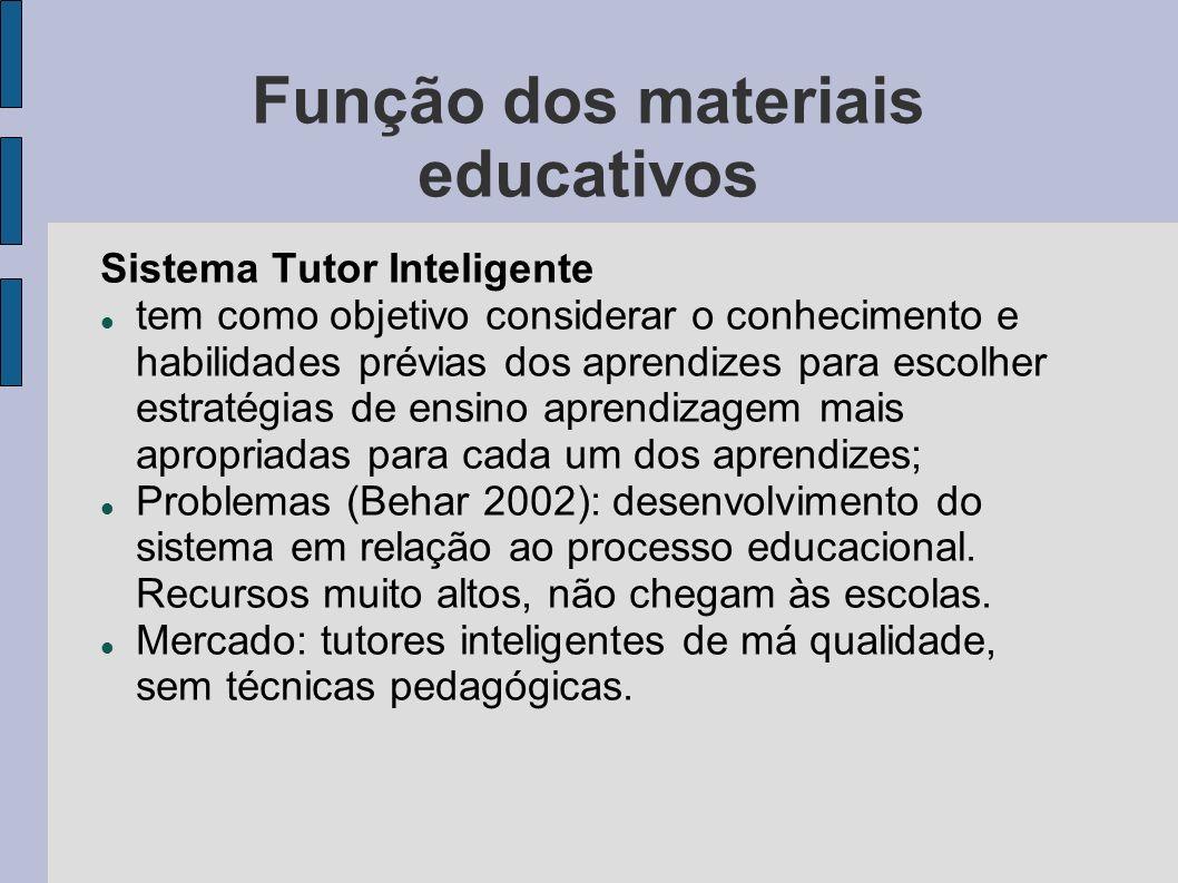 Função dos materiais educativos Sistema Tutor Inteligente tem como objetivo considerar o conhecimento e habilidades prévias dos aprendizes para escolh