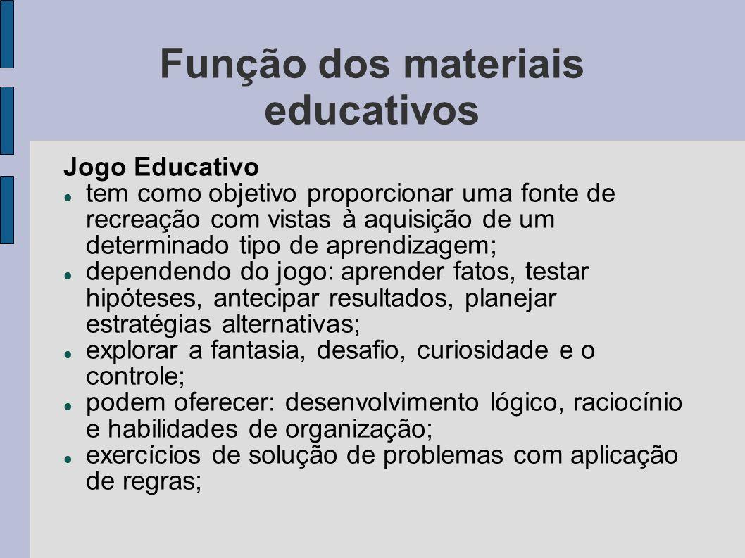 Função dos materiais educativos Jogo Educativo tem como objetivo proporcionar uma fonte de recreação com vistas à aquisição de um determinado tipo de