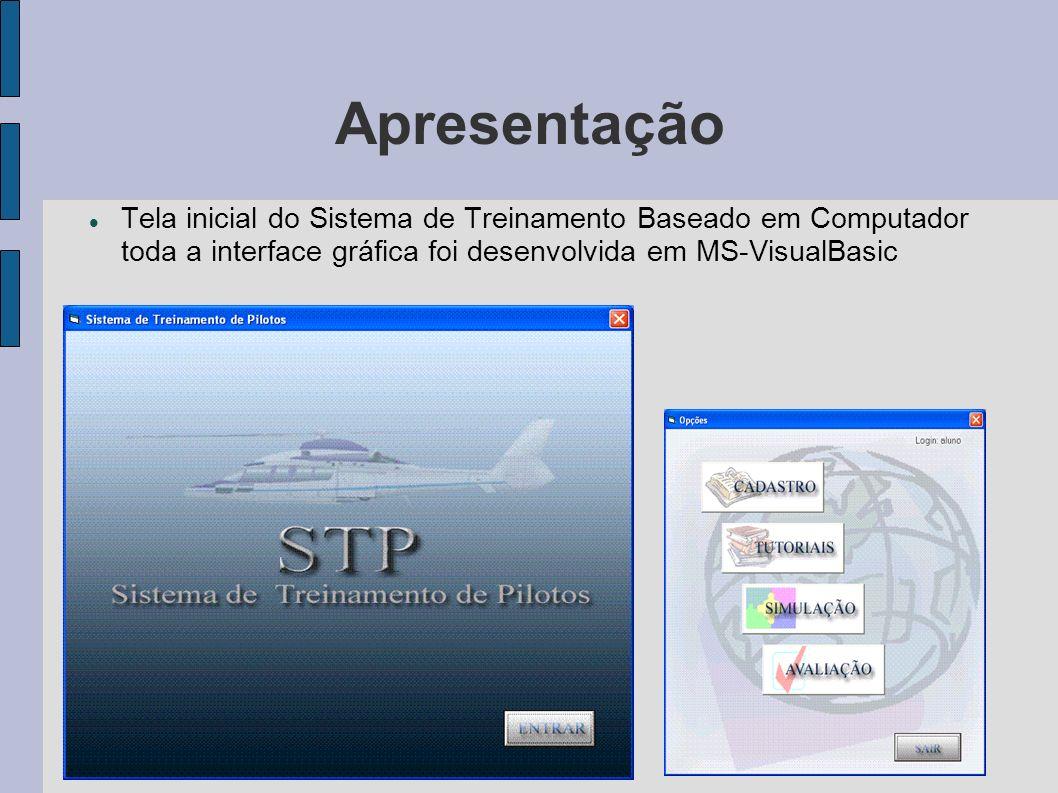Apresentação Tela inicial do Sistema de Treinamento Baseado em Computador toda a interface gráfica foi desenvolvida em MS-VisualBasic