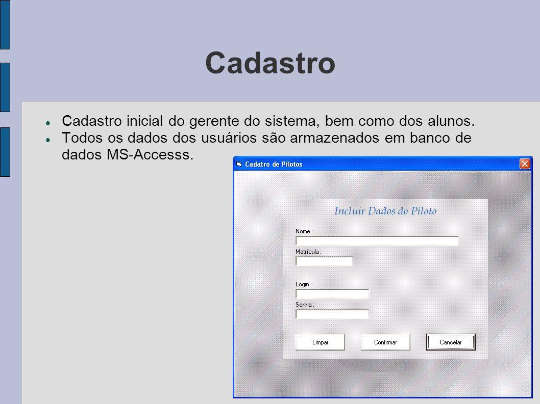 Cadastro Cadastro inicial do gerente do sistema, bem como dos alunos. Todos os dados dos usuários são armazenados em banco de dados MS-Accesss.