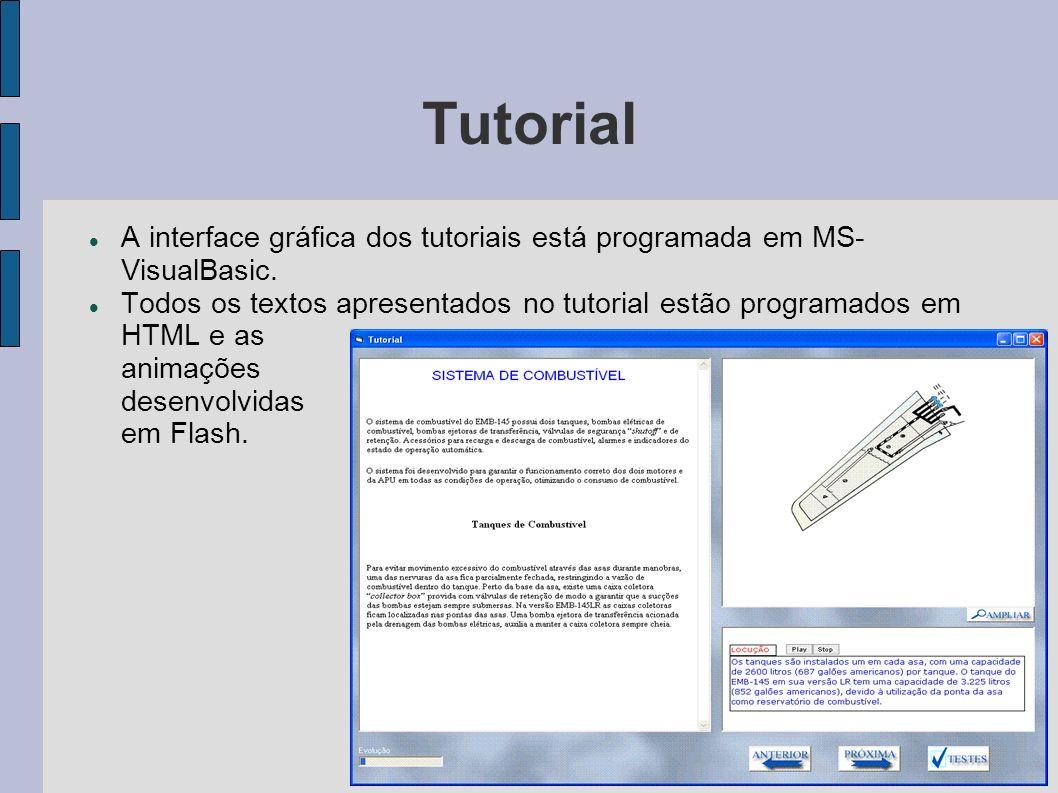 Tutorial A interface gráfica dos tutoriais está programada em MS- VisualBasic. Todos os textos apresentados no tutorial estão programados em HTML e as