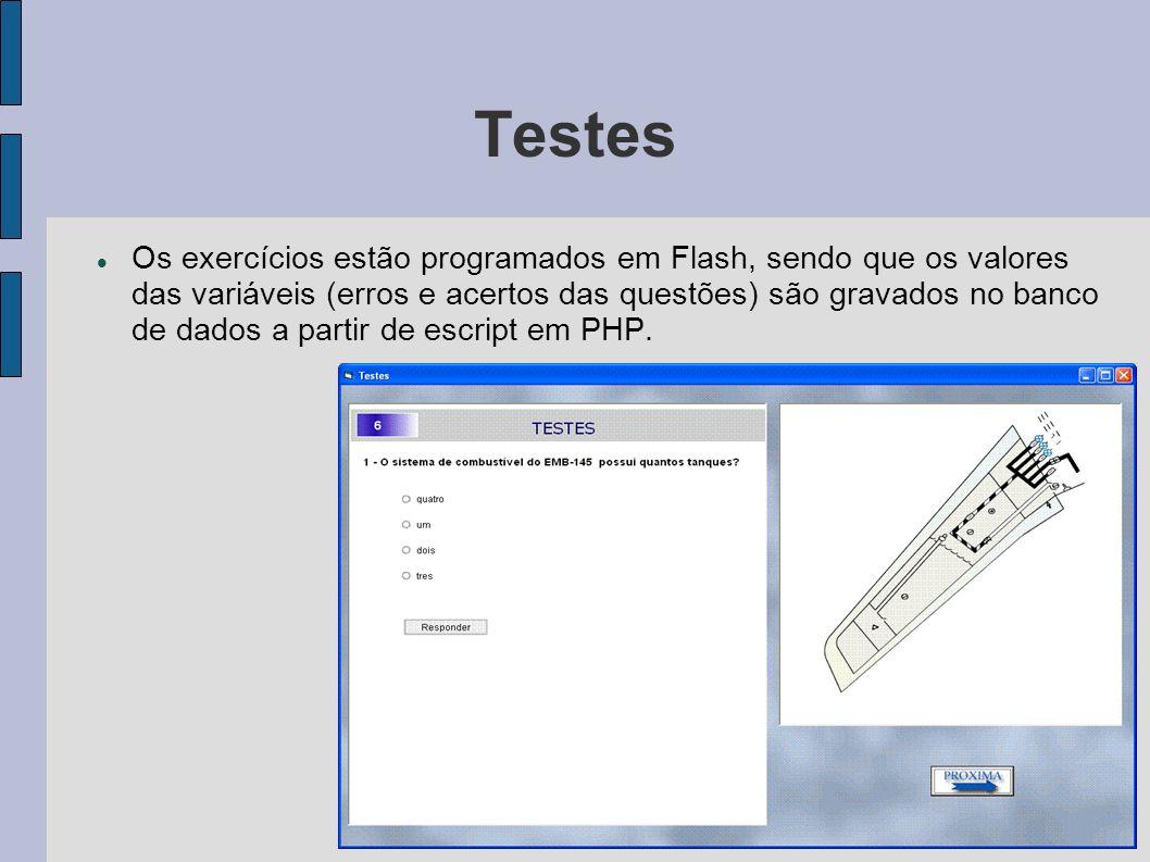 Testes Os exercícios estão programados em Flash, sendo que os valores das variáveis (erros e acertos das questões) são gravados no banco de dados a pa