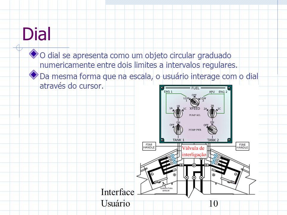 Interface com o Usuário10 Dial O dial se apresenta como um objeto circular graduado numericamente entre dois limites a intervalos regulares. Da mesma