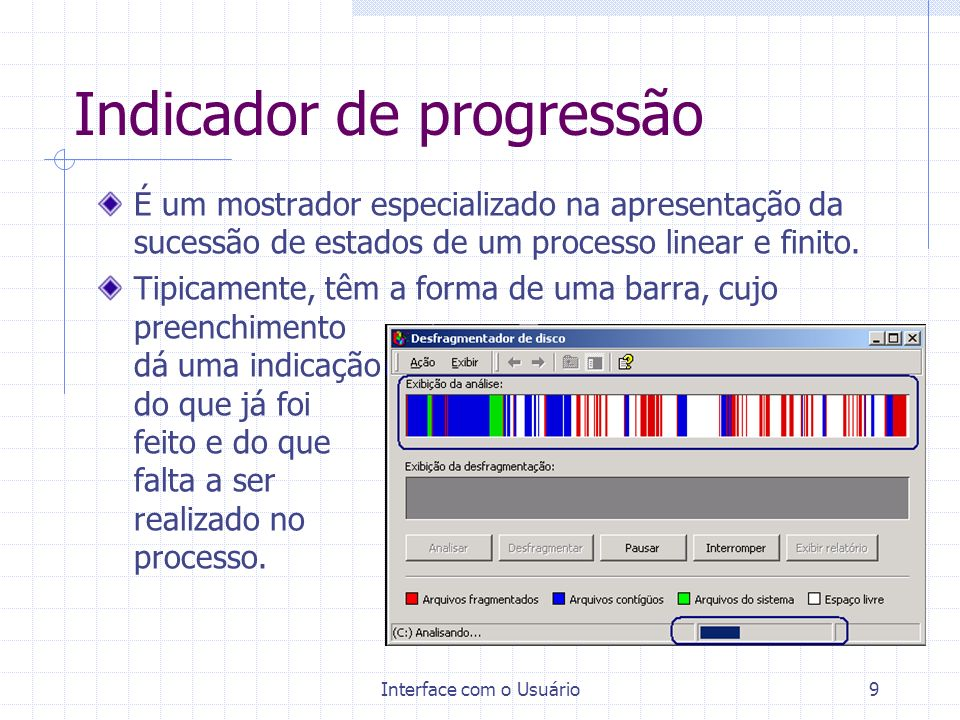 Interface com o Usuário9 Indicador de progressão É um mostrador especializado na apresentação da sucessão de estados de um processo linear e finito.
