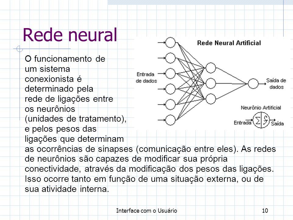 Interface com o Usuário10 Rede neural O funcionamento de um sistema conexionista é determinado pela rede de ligações entre os neurônios (unidades de t