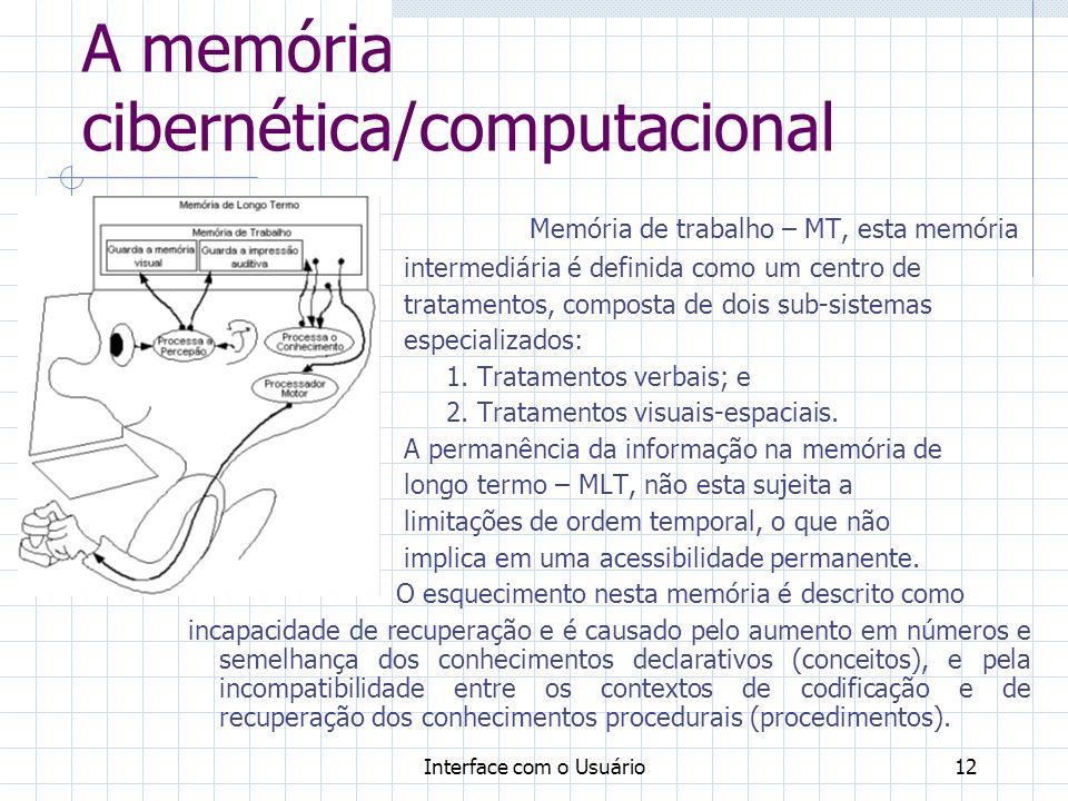 Interface com o Usuário12 A memória cibernética/computacional Memória de trabalho – MT, esta memória intermediária é definida como um centro de tratam