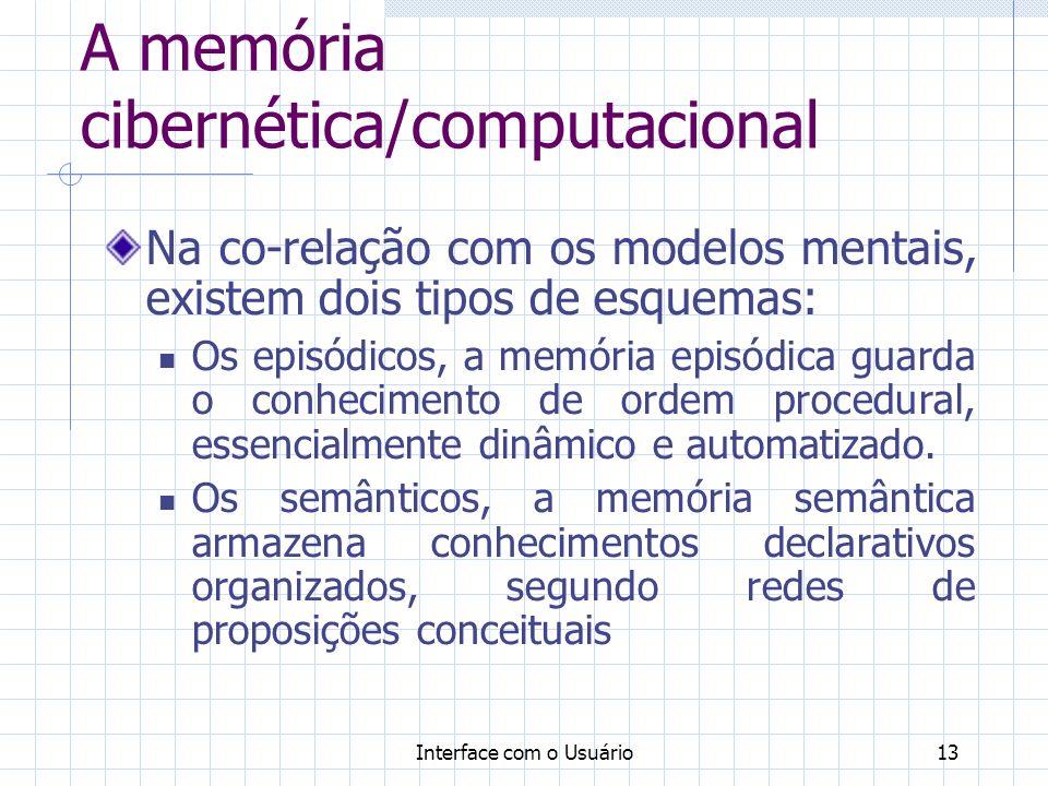 Interface com o Usuário13 A memória cibernética/computacional Na co-relação com os modelos mentais, existem dois tipos de esquemas: Os episódicos, a m