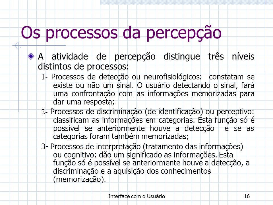 Interface com o Usuário16 Os processos da percepção A atividade de percepção distingue três níveis distintos de processos: 1- Processos de detecção ou