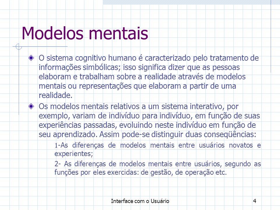 Interface com o Usuário5 Modelos mentais A interface humano-computador, deve ser flexível o suficiente, para adequar-se aos diferentes tipos de usuários.