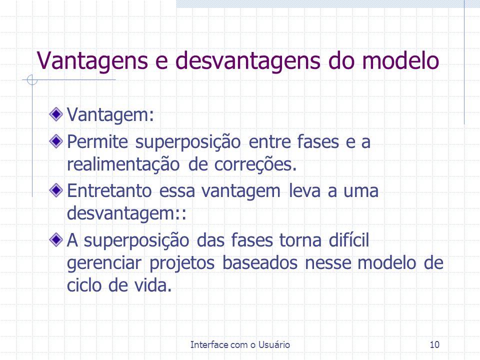 Interface com o Usuário10 Vantagens e desvantagens do modelo Vantagem: Permite superposição entre fases e a realimentação de correções. Entretanto ess