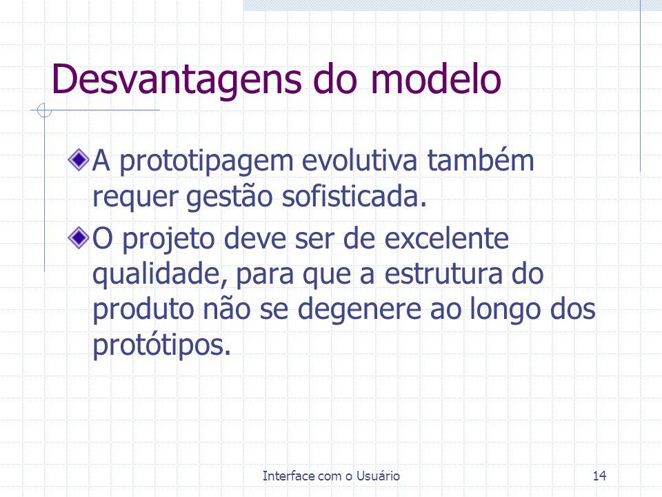 Interface com o Usuário14 Desvantagens do modelo A prototipagem evolutiva também requer gestão sofisticada. O projeto deve ser de excelente qualidade,