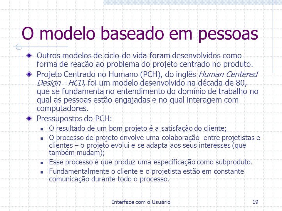 Interface com o Usuário19 O modelo baseado em pessoas Outros modelos de ciclo de vida foram desenvolvidos como forma de reação ao problema do projeto