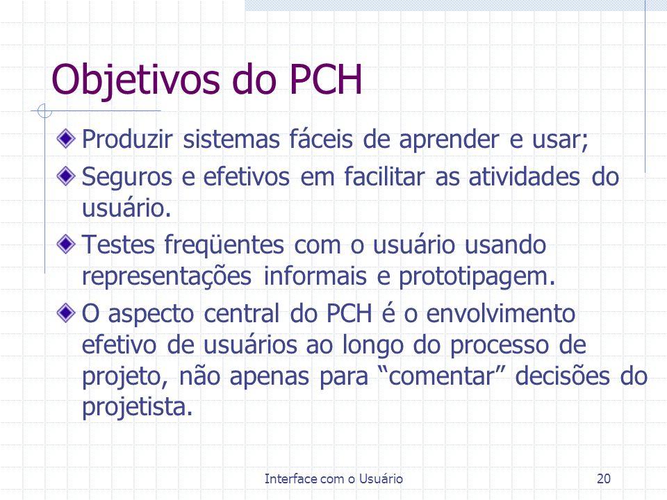 Interface com o Usuário20 Objetivos do PCH Produzir sistemas fáceis de aprender e usar; Seguros e efetivos em facilitar as atividades do usuário. Test