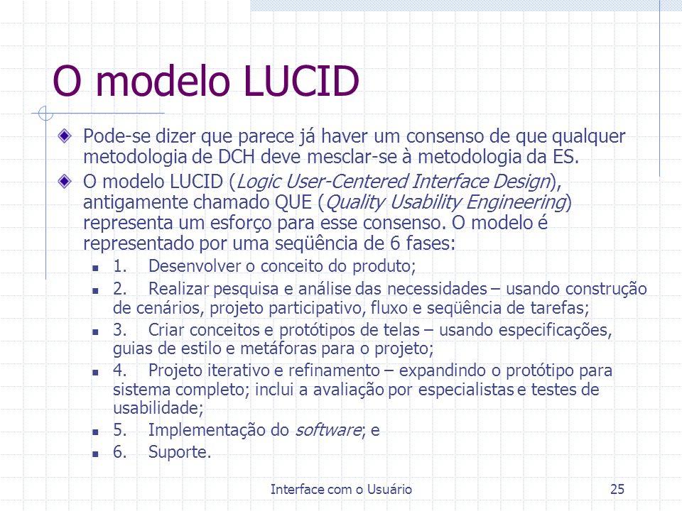 Interface com o Usuário25 O modelo LUCID Pode-se dizer que parece já haver um consenso de que qualquer metodologia de DCH deve mesclar-se à metodologi