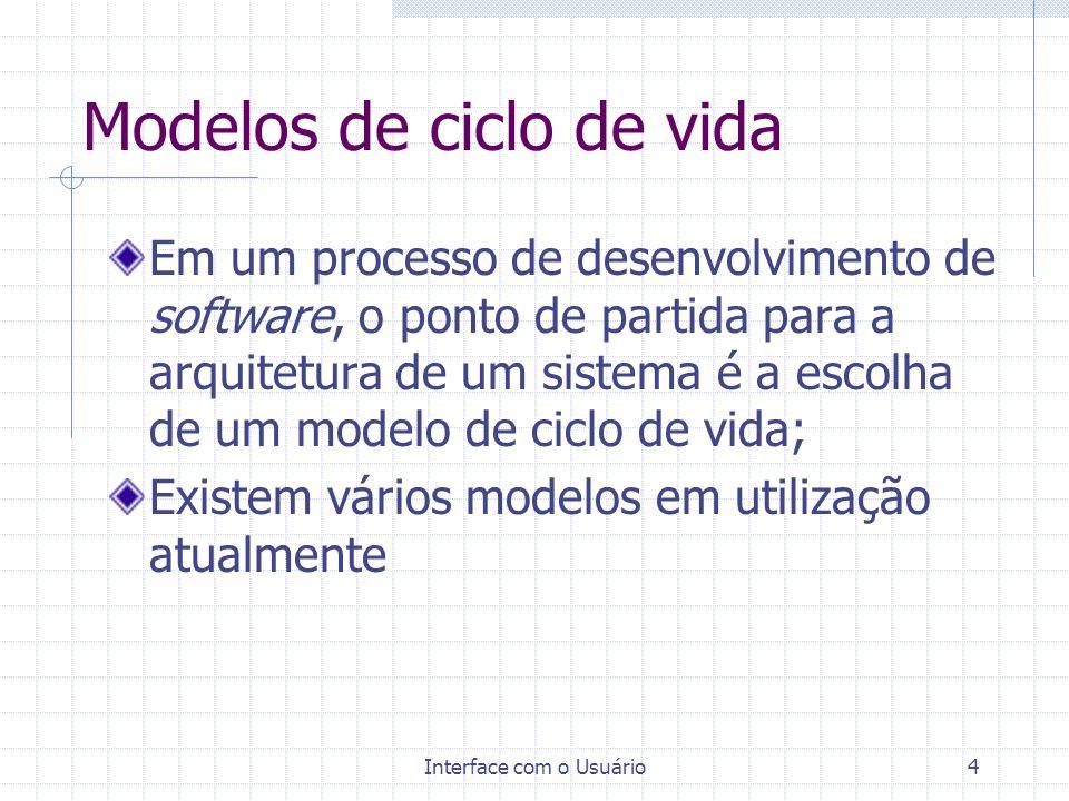 Interface com o Usuário4 Modelos de ciclo de vida Em um processo de desenvolvimento de software, o ponto de partida para a arquitetura de um sistema é