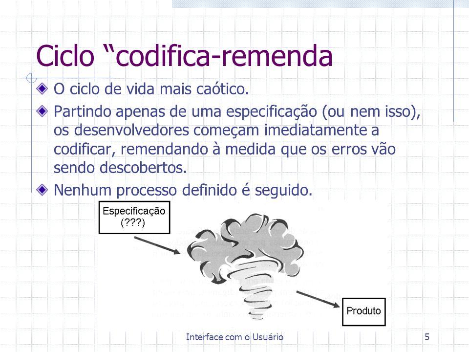 Interface com o Usuário5 Ciclo codifica-remenda O ciclo de vida mais caótico. Partindo apenas de uma especificação (ou nem isso), os desenvolvedores c