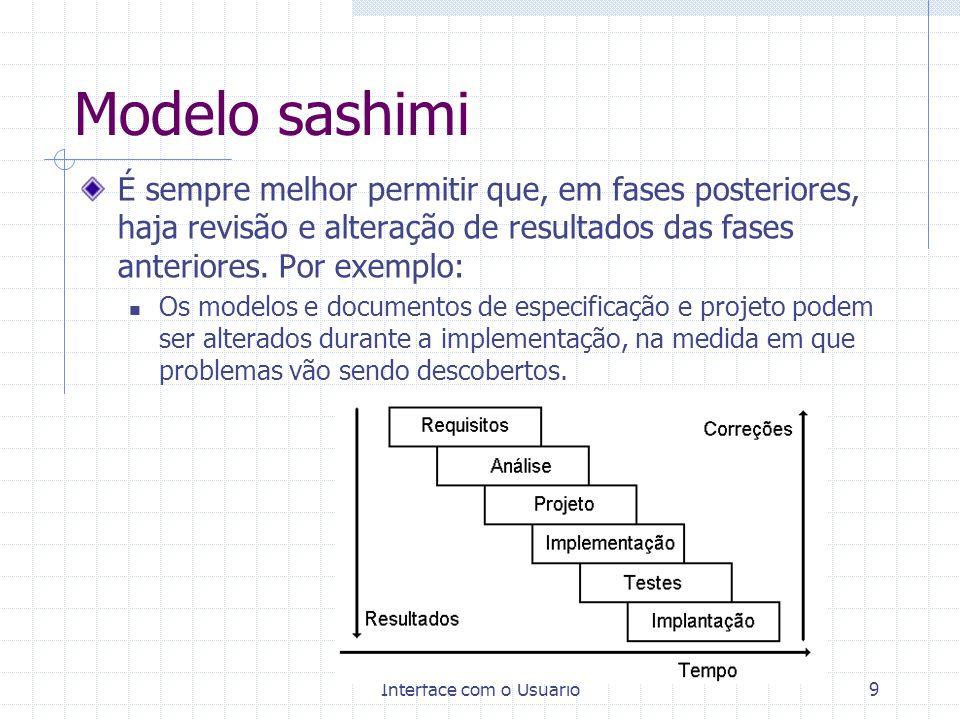 Interface com o Usuário9 Modelo sashimi É sempre melhor permitir que, em fases posteriores, haja revisão e alteração de resultados das fases anteriore