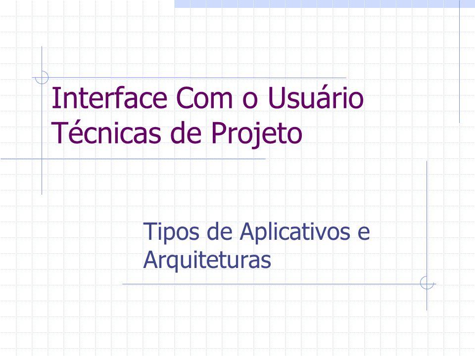 Interface Com o Usuário Técnicas de Projeto Tipos de Aplicativos e Arquiteturas