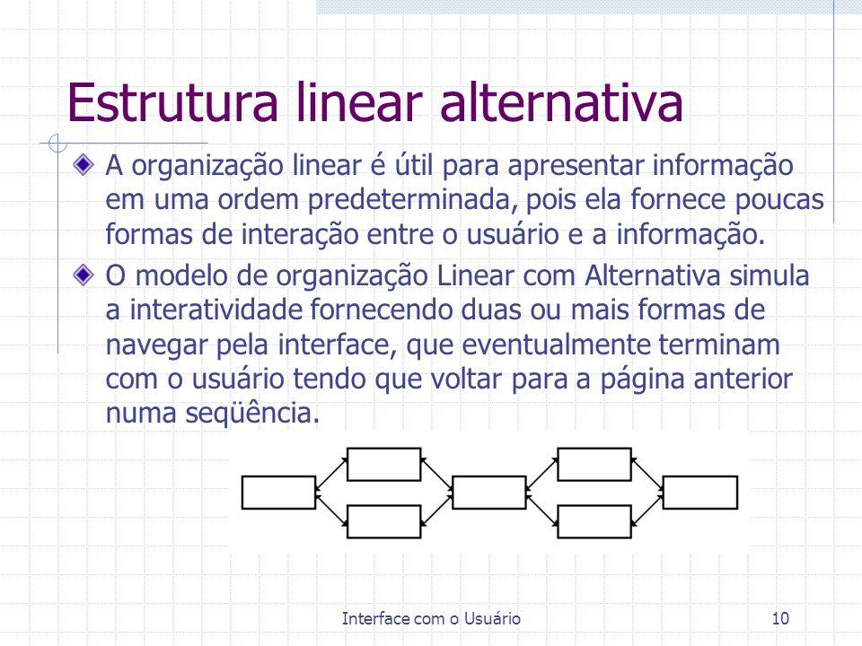 Interface com o Usuário10 Estrutura linear alternativa A organização linear é útil para apresentar informação em uma ordem predeterminada, pois ela fo
