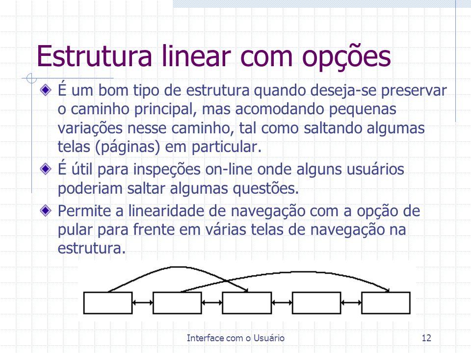 Interface com o Usuário12 Estrutura linear com opções É um bom tipo de estrutura quando deseja-se preservar o caminho principal, mas acomodando pequen