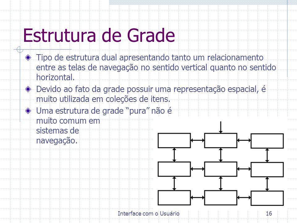 Interface com o Usuário16 Estrutura de Grade Tipo de estrutura dual apresentando tanto um relacionamento entre as telas de navegação no sentido vertic