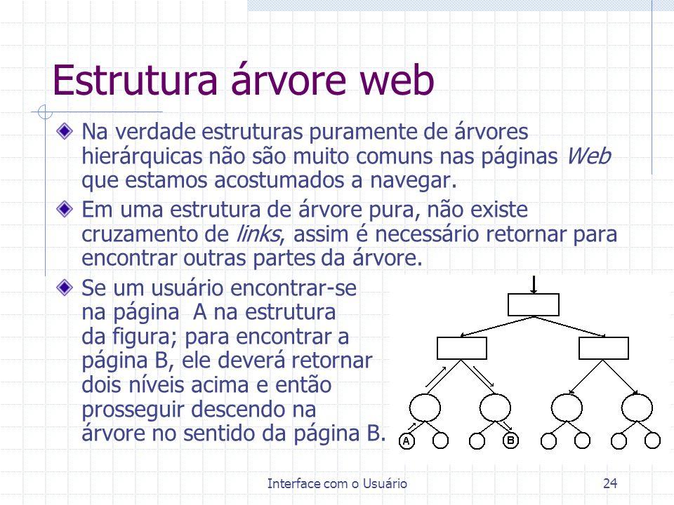 Interface com o Usuário24 Estrutura árvore web Na verdade estruturas puramente de árvores hierárquicas não são muito comuns nas páginas Web que estamo