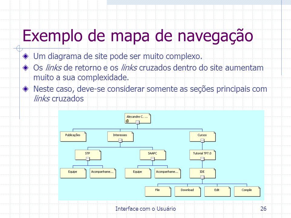 Interface com o Usuário26 Exemplo de mapa de navegação Um diagrama de site pode ser muito complexo. Os links de retorno e os links cruzados dentro do