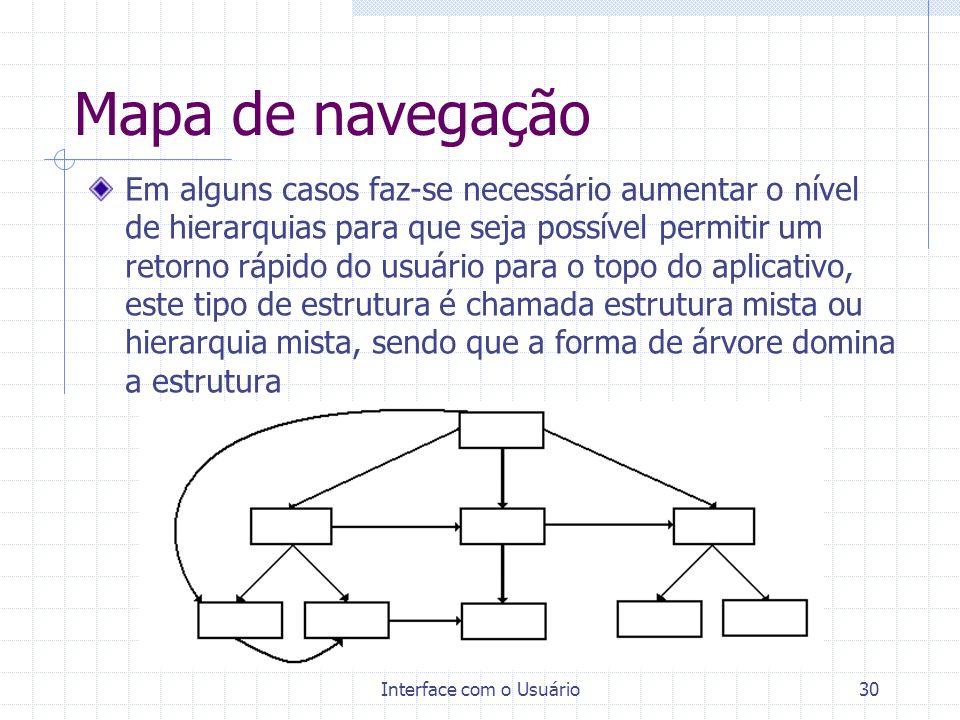 Interface com o Usuário30 Mapa de navegação Em alguns casos faz-se necessário aumentar o nível de hierarquias para que seja possível permitir um retor