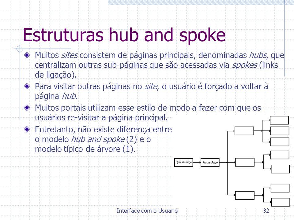 Interface com o Usuário32 Estruturas hub and spoke Muitos sites consistem de páginas principais, denominadas hubs, que centralizam outras sub-páginas