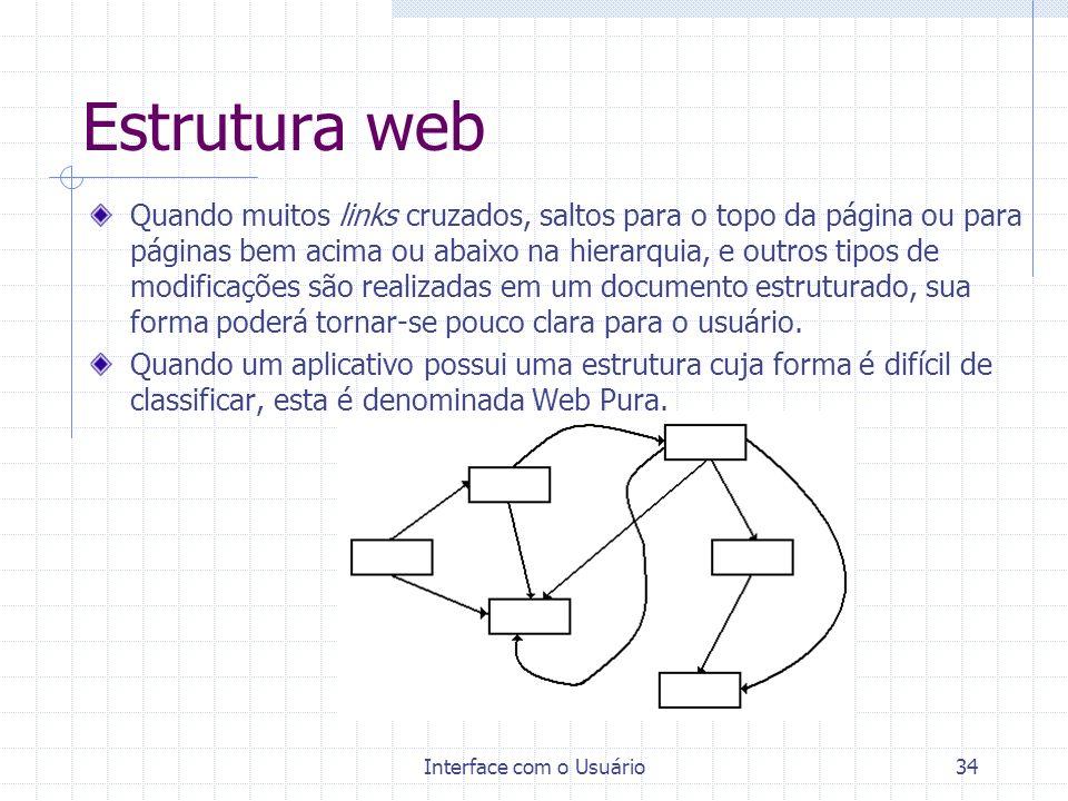 Interface com o Usuário34 Estrutura web Quando muitos links cruzados, saltos para o topo da página ou para páginas bem acima ou abaixo na hierarquia,