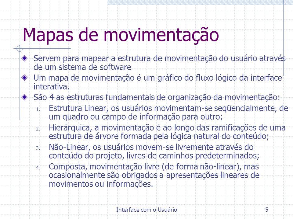 Interface com o Usuário5 Mapas de movimentação Servem para mapear a estrutura de movimentação do usuário através de um sistema de software Um mapa de