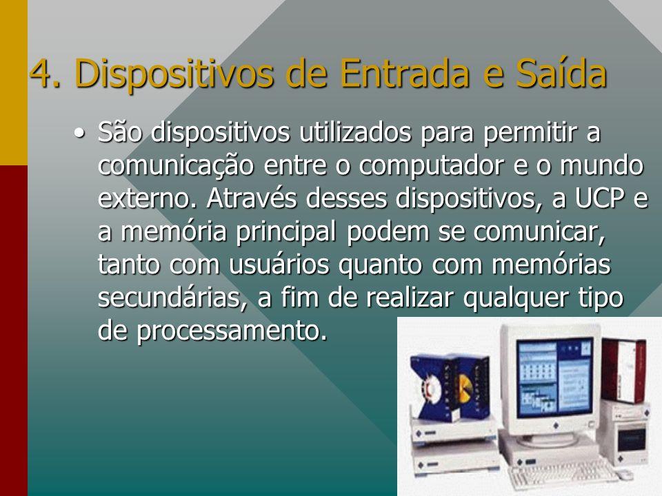 4. Dispositivos de Entrada e Saída São dispositivos utilizados para permitir a comunicação entre o computador e o mundo externo. Através desses dispos