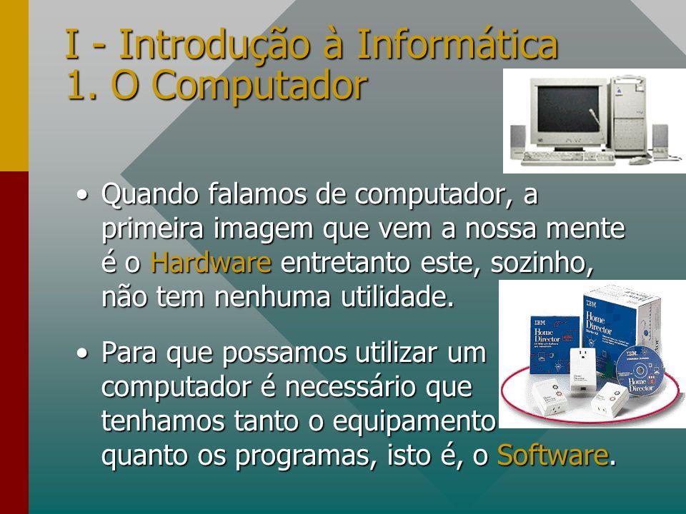 I - Introdução à Informática 1. O Computador Quando falamos de computador, a primeira imagem que vem a nossa mente é o Hardware entretanto este, sozin