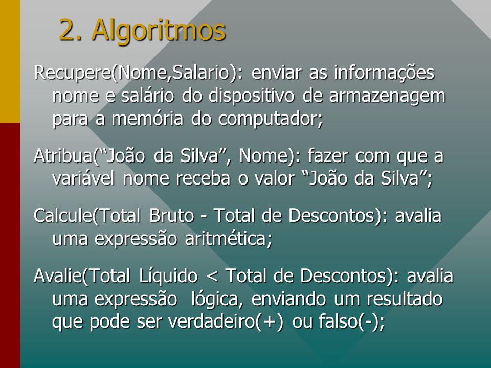 2. Algoritmos Recupere(Nome,Salario): enviar as informações nome e salário do dispositivo de armazenagem para a memória do computador; Atribua(João da