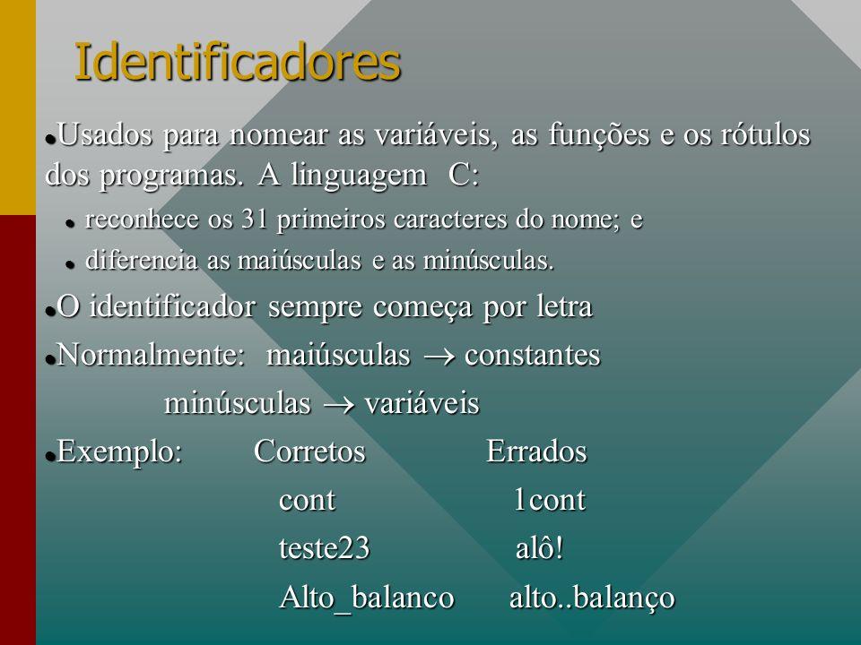Identificadores Usados para nomear as variáveis, as funções e os rótulos dos programas. A linguagem C: Usados para nomear as variáveis, as funções e o