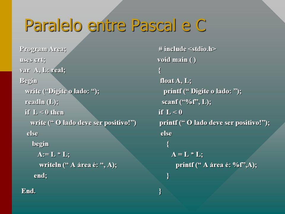 Paralelo entre Pascal e C Program Area; # include Program Area; # include uses crt; void main ( ) var A, L: real; { Begin float A, L; write (Digite o