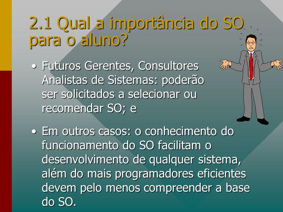 2.1 Qual a importância do SO para o aluno? Futuros Gerentes, Consultores Analistas de Sistemas: poderão ser solicitados a selecionar ou recomendar SO;